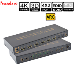 4K*2K 60Hz HDR HDMI True Matrix 4X2 Audio Extractor Switch For Dolby ARC SPDIF EDID 4 In 2 Out HDMI Converter Switcher Splitter