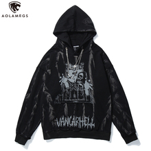 Aolamegs Men Hip Hop Hoodie Sweatshirt Gothic Horror Skull Print Punk Chain High Street Hipster Thick Hooded Pullover Streetwear