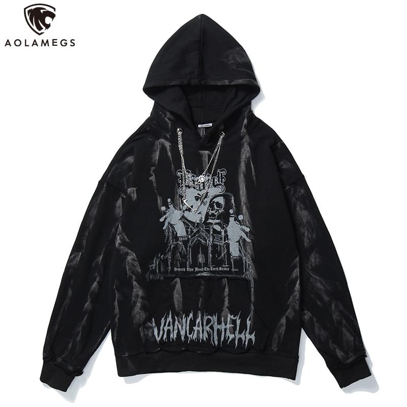 Aolamegs Men Hip Hop Hoodie Sweatshirt Gothic Horror Skull Print Rock Punk Chain High Street Hipster Hooded Pullover Streetwear