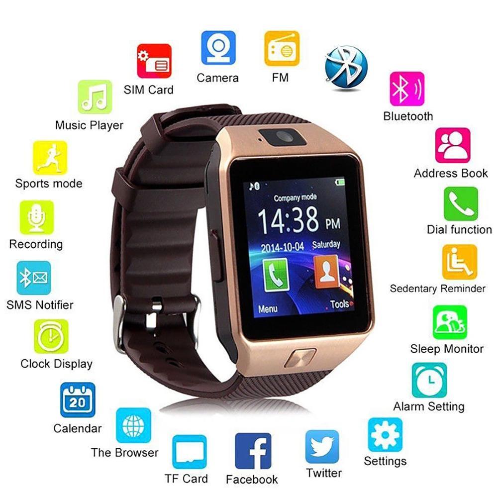 Eletrônico relógio de Pulso Bluetooth Relógio Inteligente Com A Contagem da Etapa e Monitoramento Do Sono para DZ09 Relógio Inteligente