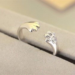 Silver Cute Dog Cat Paw Ring New Fashion Silver Plated Claw Jewelry For Women