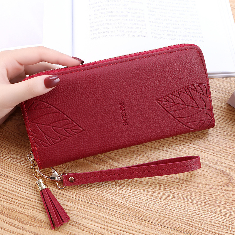 Womens Wallets And Purses PU Leather Wallet Femal Red/pink/black/gray Long Women Purse Large Capacity Bag Women's Wallet