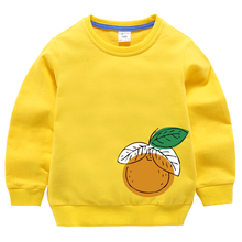 Yellow Hoodies Baby Girls Sweaters Toddler Boys Kids Children  Spring Cotton Fashion Tops Autumn Clothes Clothing Print Orange цены