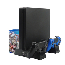 цена на PS4/PS4 Slim/PS4 Pro Multifunctional Vertical Console Cooling Stand Controller Charger Charging Station For SONY Playstation 4
