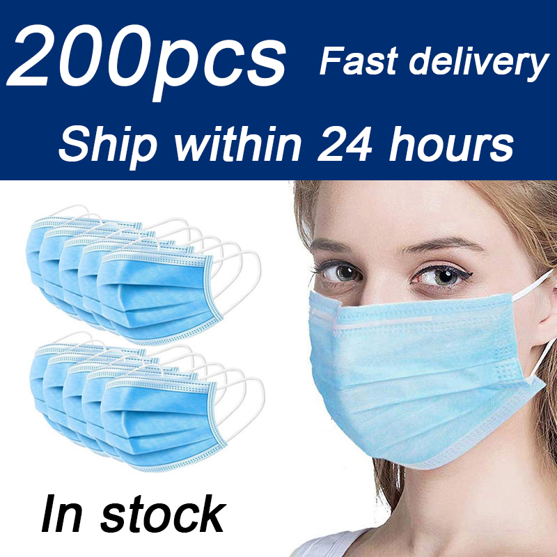 50 Pcs Non-woven Disposable Face Mask 3-layer Hanging Ear Filter Safety Protective Mask Mouth