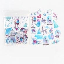 40 pçs/saco nordic natal veados decorativos adesivos álbum diário mão conta decoração