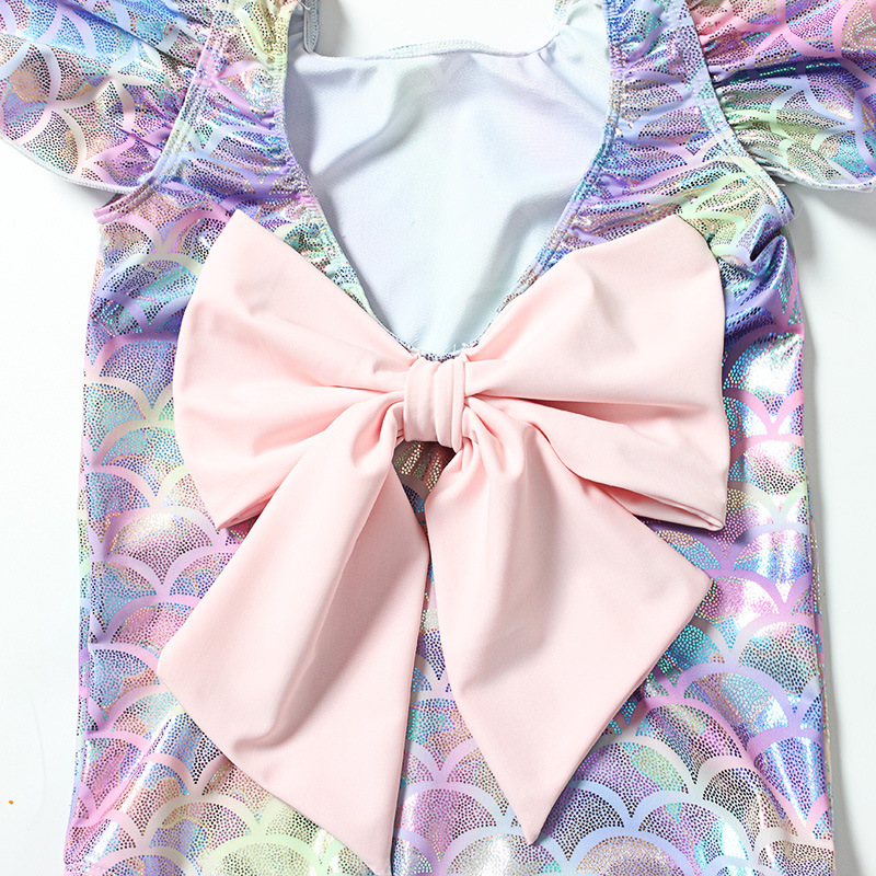 Mermaid GIRL'S One-piece Swimming Suit Bow CHILDREN'S Small Children Bronze INS Hot Selling CHILDREN'S Swimwear Hot Springs