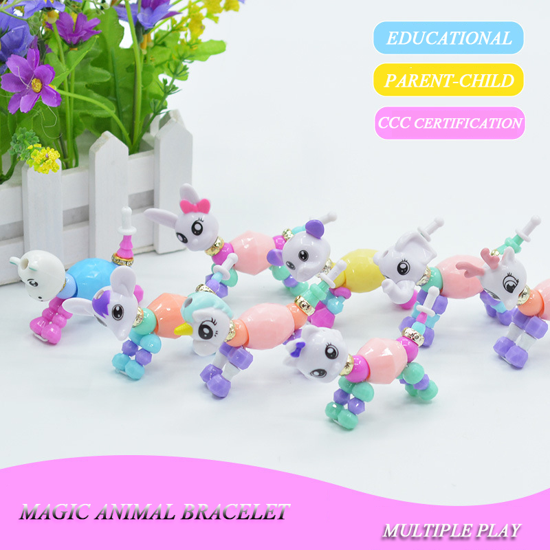 1pcs Creative Funny DIY Animal Charm Bracelets Magic Tricks Super Sprouting Surprise Girl Magic Pet Bracelet Child Gift