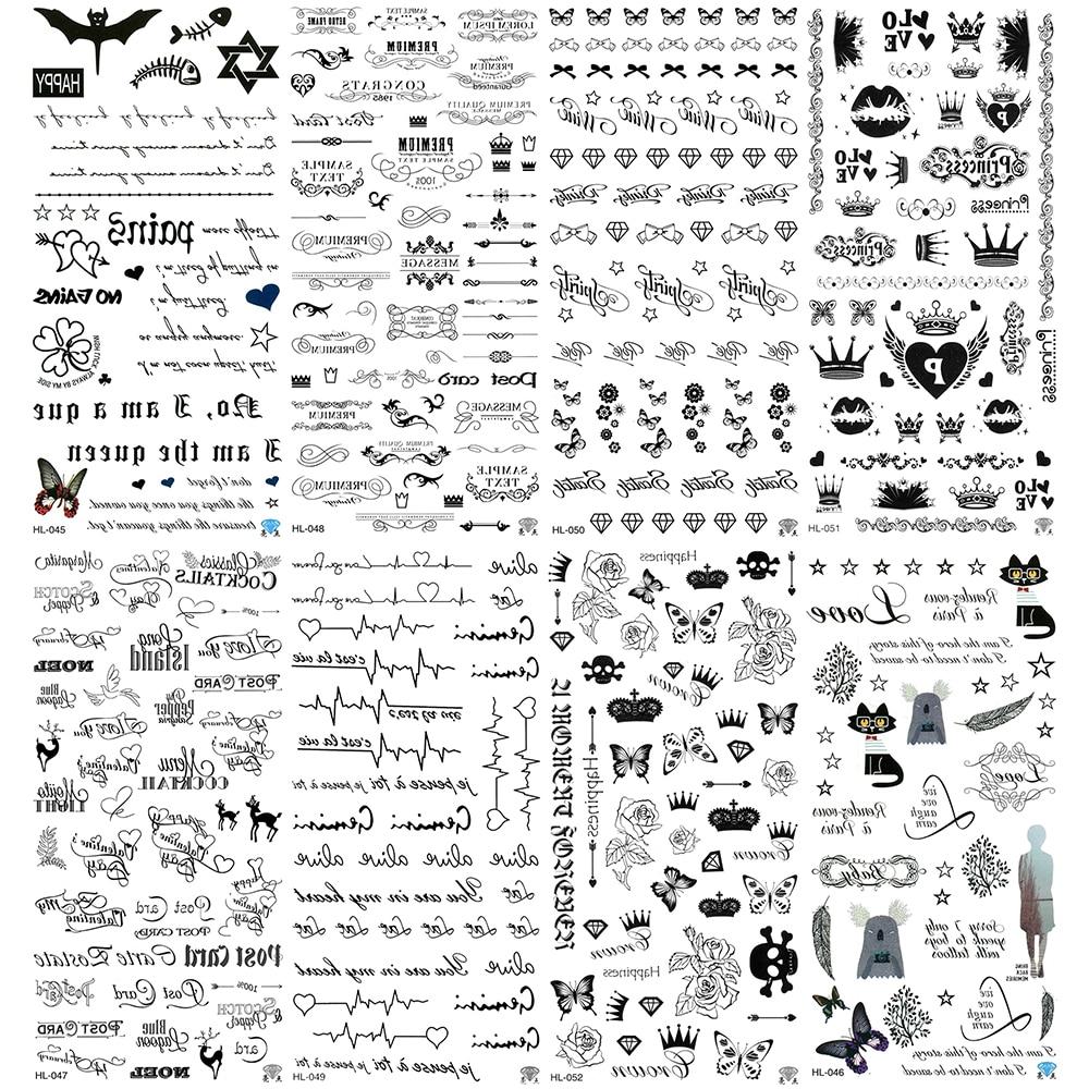 5pcs /lot Clover Water Proof Tattoo Butterfly Tree Temp Skull Love Fake Heart Lip Tattoos Letter Tie Tatoo Flower Tatto
