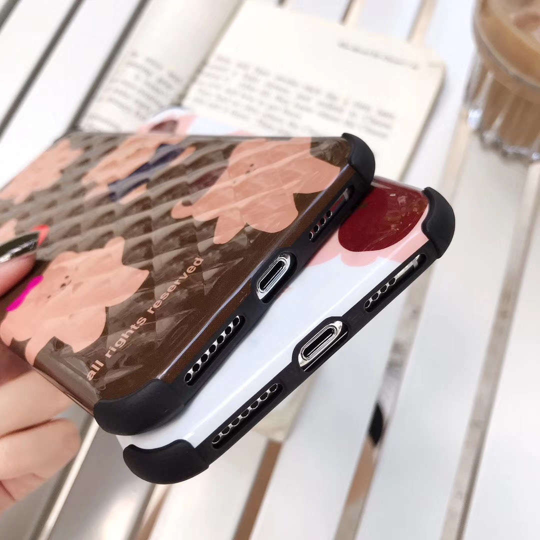 INS Korea cute cartoon innovative plaid bear funny mobile phone case for iphone Xs MAX XR X 6 6s 7 8 plus glossy silicone Capa in Fitted Cases from Cellphones Telecommunications