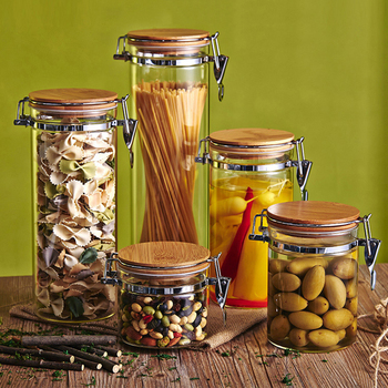 Sealed Glass Jars and Lids Stainless Steel Buckle Oatmeal Snack Candy Tea Honey Jar Cereal Dispenser Kitchen Storage Bottles glass storage jars with bamboo lids cereal dispenser storage bottles high capacity glass containers for food spices candy jar