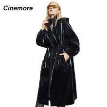 Cinema 2020 nuovo Trench Casual lucido riflettente speciale tessuto sciolto cappotti da donna vita dimagrante capispalla moda 82004