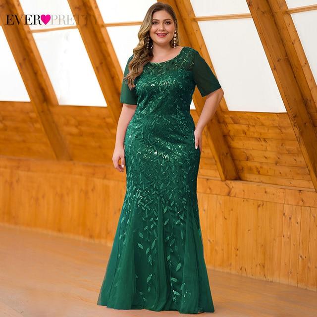 Plus Size Sequined Evening Dresses Long Ever Pretty O Neck Half Sleeve Mermaid Abiye Sexy Elegant Party Dresses Robe De Soiree