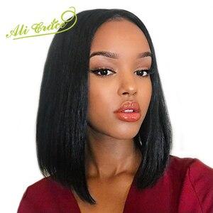 Малазийские короткие Синтетические волосы на кружеве Искусственные парики под волосы афроамериканок для Для женщин предварительно выреза...