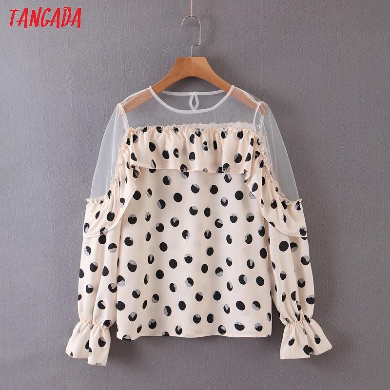 Tangada Female Chic Dots Print Ruffles Mesh Patchwork Shirt Long Sleeve Blouse Casual Fashion Tops SL306
