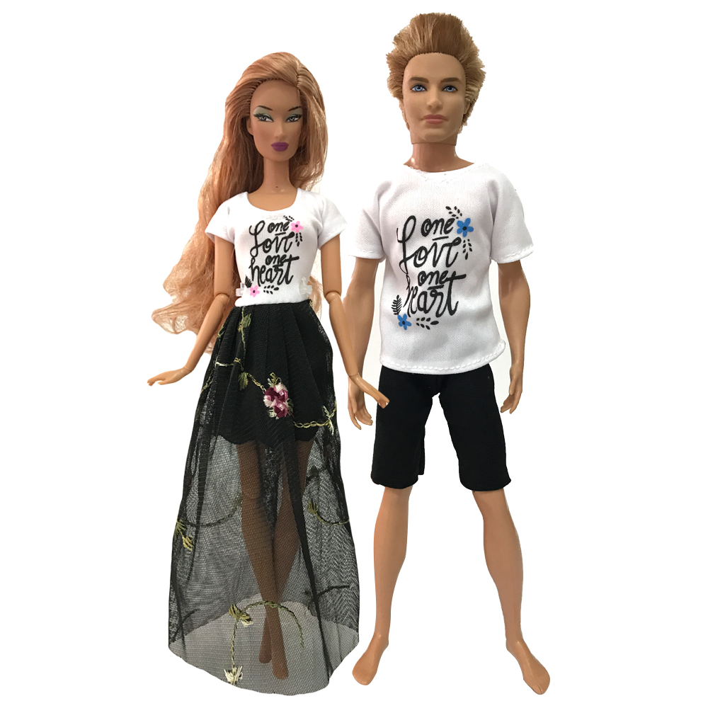 NK 2 Pcs /Set New Daily Casual Couple Doll Dress For Barbie Doll Accessories Boy Girl Clothes Gift Toy For Ken Doll 04A 9X