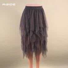 Женские юбки новая корейская мода эластичная высокая талия Асимметричная юбка-пачка плиссированная сетка длинная юбка миди Тюлевая юбка Faldas Mujer