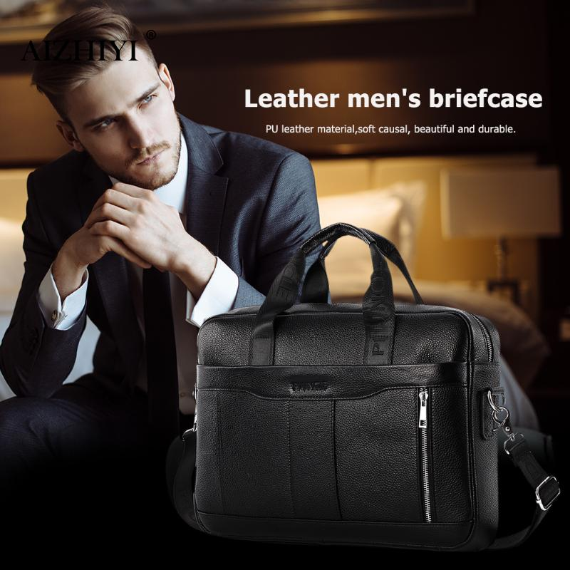 Male Casual Black Large Genuine Leather Top-handle Bags Men Shoulder Bags Business Briefcase Messenger Handbags