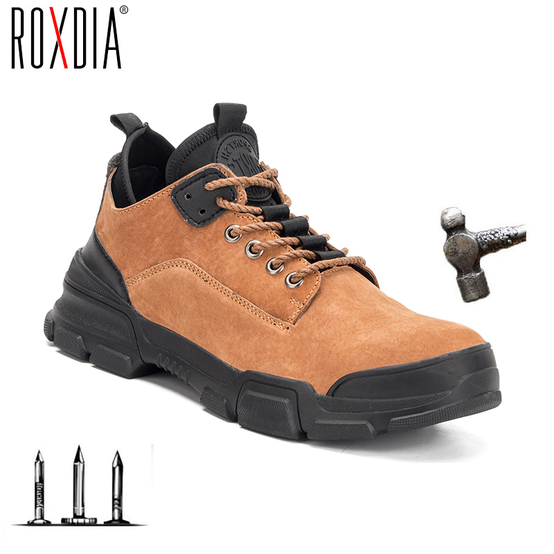 Drop Shipping Steel Toe Work Safety Shoes Pig Skin For Men Women Anti-impact Construction Shoes Plus Size 37-48 RXM192