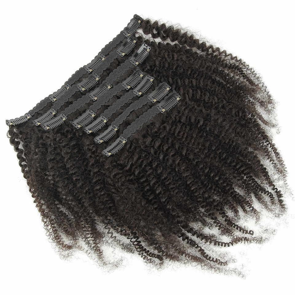 YVONNE 4B 4C rizado Crespo ¿Clip en extensiones de cabello humano cabello virgen brasileño 7 unids/set 120g Color Natural