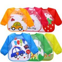 Baby Boy Bibs Waterproof Long Sleeve Mickey Minnie Girl Bibs Kids Burp Cloth Feeding Bib with Pocket Child Apron Smock