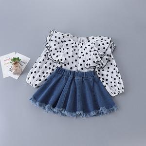 2-7 anos de alta qualidade primavera menina conjunto de roupas 2020 nova moda casual dot camisa + saia do miúdo crianças meninas roupas