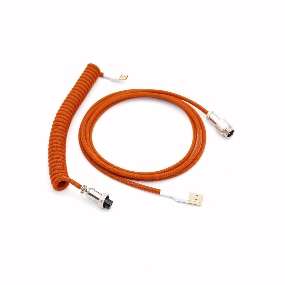cheapest Single Sleeved Coiled Type C Cable Mini Micro USB Coil Cable for Mechanical Keyboard Spiral Cable With Colorful GX12 Aviator