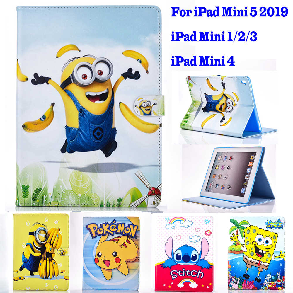 2019 Mini 5 Case voor Apple ipad mini 1 2 3 4 case Cartoon Pokemon Minions tablet PU leather Cover Flip stand shell coque para