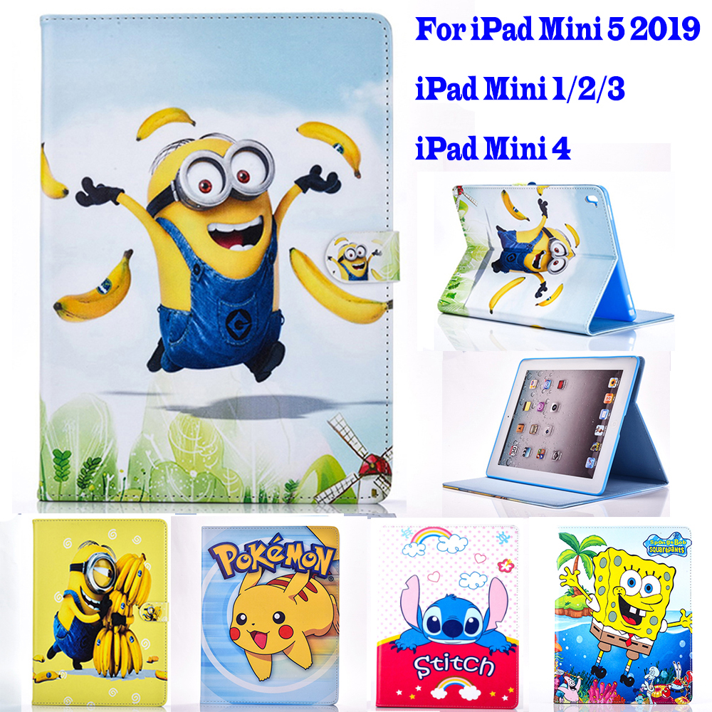<font><b>2019</b></font> <font><b>Mini</b></font> <font><b>5</b></font> <font><b>Case</b></font> for Apple <font><b>ipad</b></font> <font><b>mini</b></font> 1 2 3 4 <font><b>case</b></font> Cartoon Pokemon Minions tablet PU <font><b>leather</b></font> Cover Flip stand shell coque para image