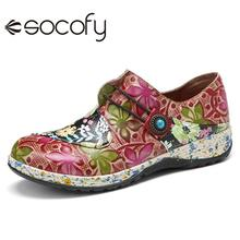 Loafers SOCOFY Floral-Flat-Shoes Retro-Style Women Beach Casual Flower-Splicing Beaded-Zip
