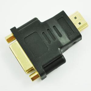 Black Dual Link DVI-I Female to HDMI Male Plug Converter Adapter