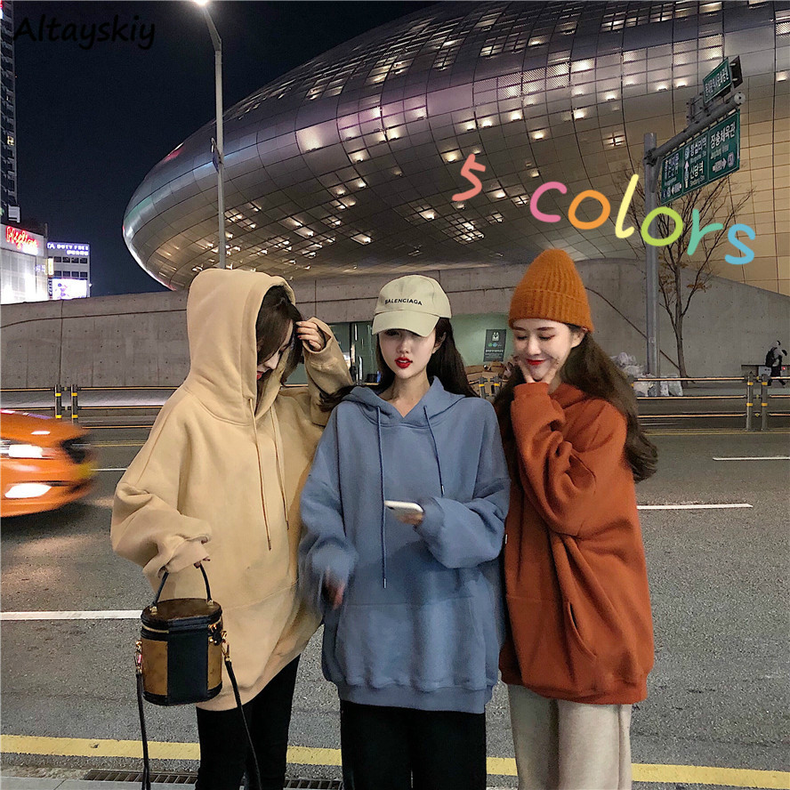 Hoodies Women Solid Loose 2XL Casual Plus Velvet Hooded Womens Pullover Chic Daily Big Pocket Students Simple Korean Style Sweet