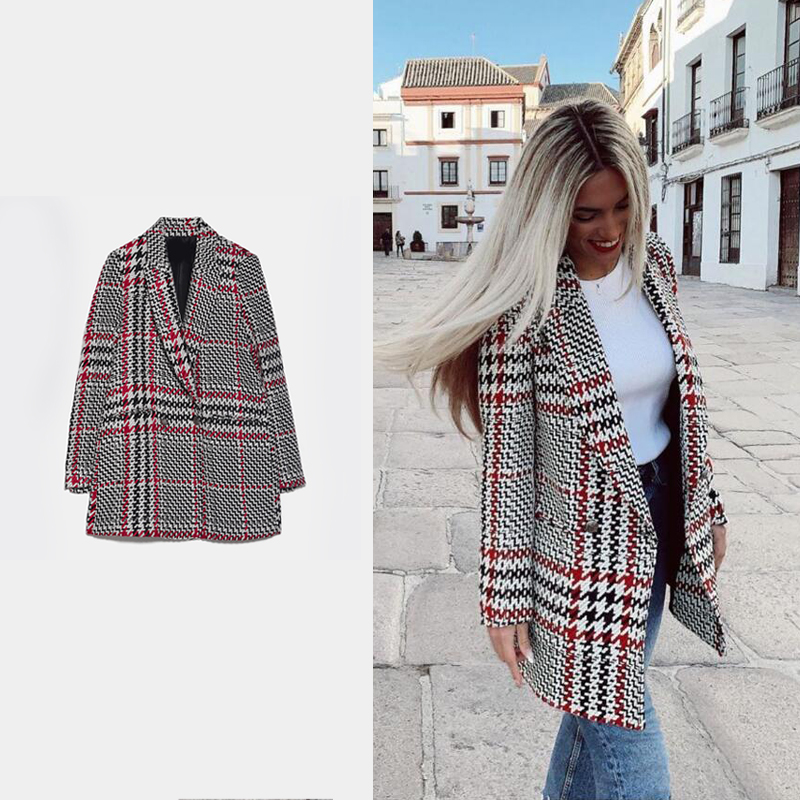 2020 Fashion ZA Plaid Blazer Double Breasted Women Small Suit Elegant Office Lady Coat Charm Jacket Casual Party Ins Style New