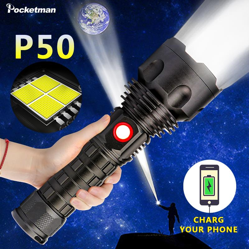 Most Powerful LED Flashlight XP50 Lamp Waterproof Flash Light USB Rechargeable Powered Bank Torch Lantern Spotlights For Camping