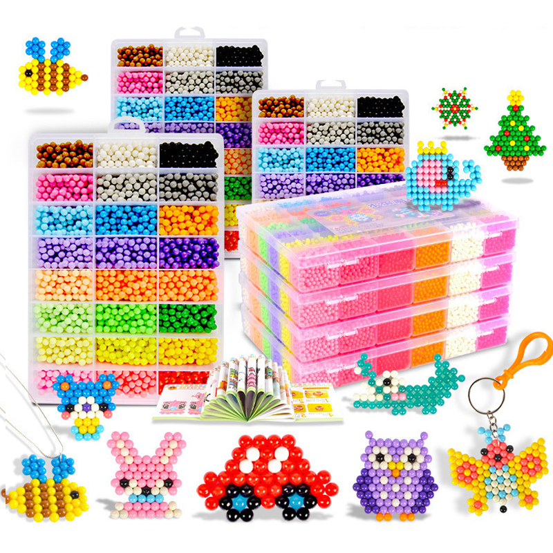 11000pcs 3D Handmade Refill Hama Beads Pearls Puzzle Kids Toys DIY Water Spray Beads Set Ball Games MagicToys for girls Children 2