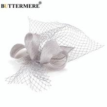 BUTTERMERE Mesh Hat Cap Women Linen Bowknot Grey Fedora Ladies Elegant Bride Wedding Party Female British Style Pillbox Hats