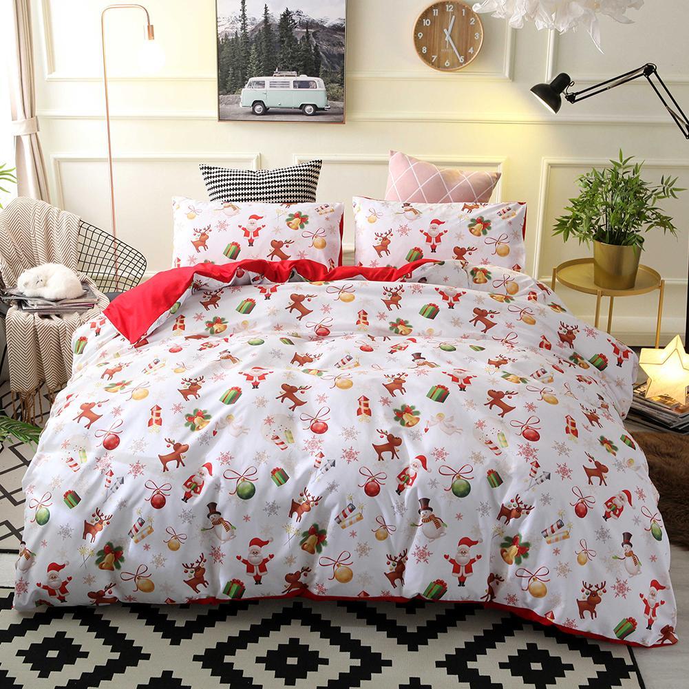2/3Pcs Bedding Set Christmas Santa Elk Snowman Print Soft Quilt Cover Pillow Case Duvet Cover Bed Set Flat Sheet Pillowcases