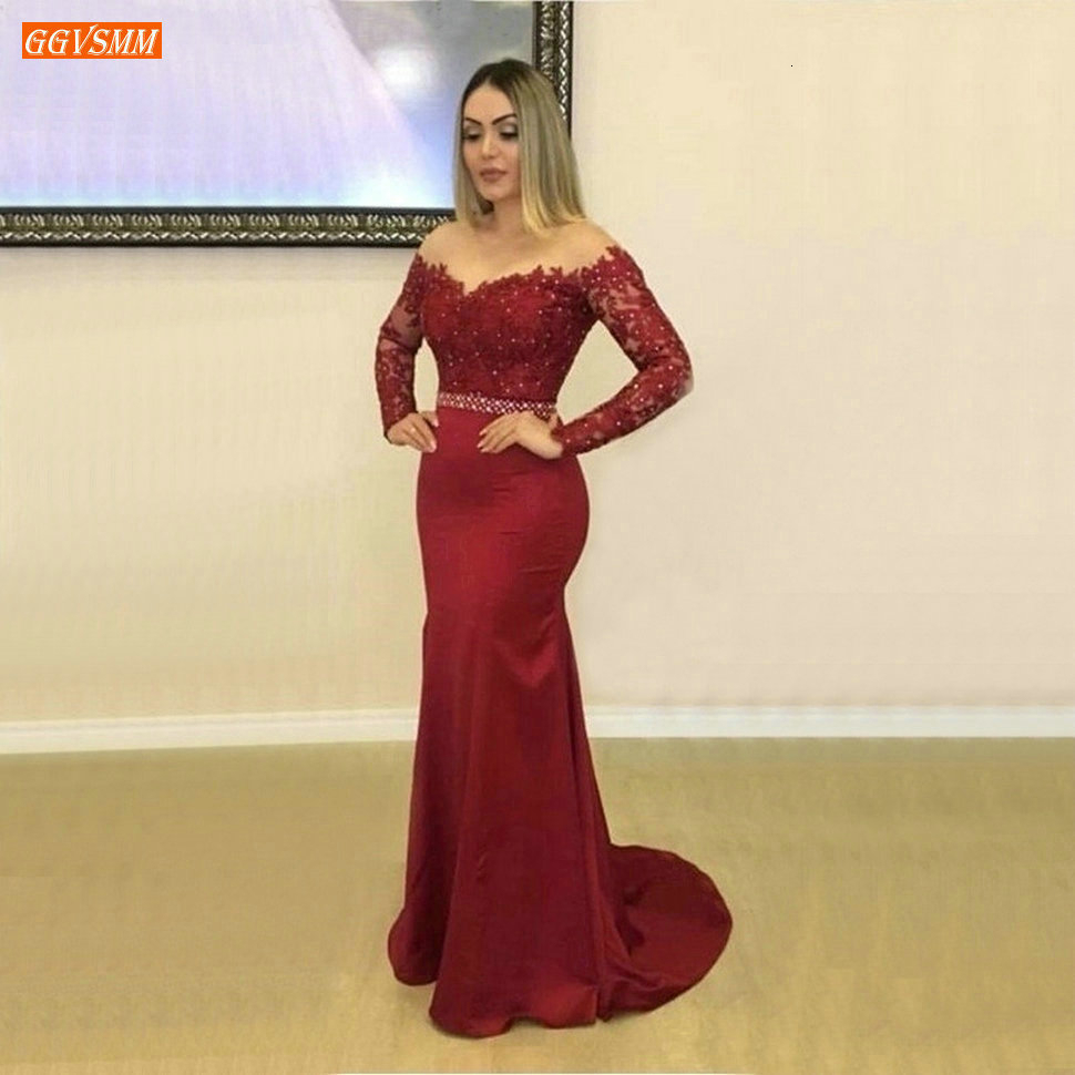 Fashion Burgundy Mermaid   Evening     Dress   Long Sleeves Appliqued Beaded Elastic Satin Formal   Dresses   Custom Made Gala   Evening   Gown