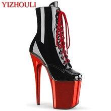 8 cali, sexy rycerz botki, model wysokie obcasy, galwanicznie wodoodporna platforma, 20cm taniec na rurze, buty wydajności
