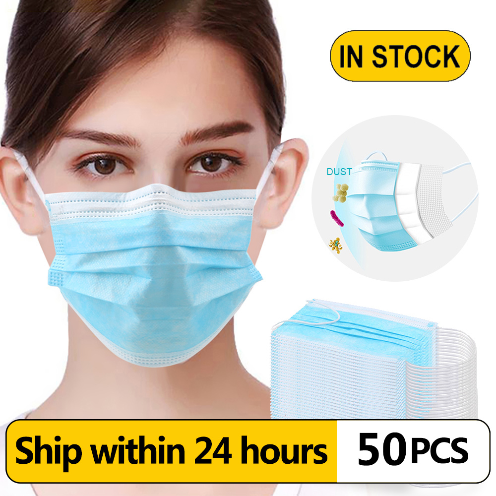 200/50 PCS N95/PM2.5/FPP3 Disposable Face Mask 3-Ply Protective Non-woven Elastic Hygiene Safety Face Masks Dust Protection Mask