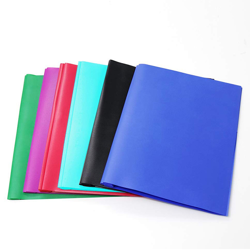 2-Pocket Letter Size-Folders Poly File Portfolio Folder With 3-Prong Fasteners - 6 Pack (Assorted 6 Color)
