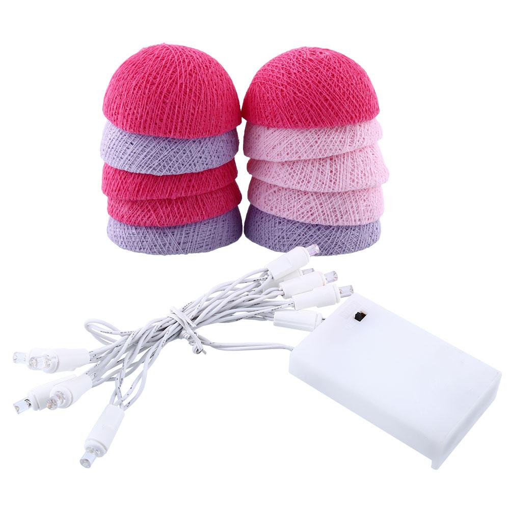 2019 CottonBallLights 10Ball Christmas LED String Light Pink+Blue Gift Drop Shipping