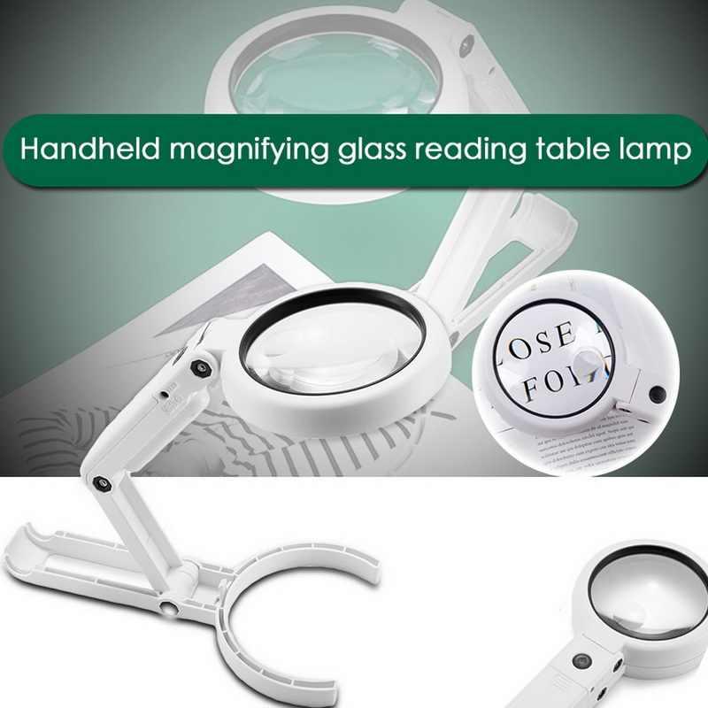 Lámpara de mesa de doble uso, lupa de 5x y 11X, soporte brillante, antideslizante, de mano, con 8 lupas LED para lectura, elaboración y reparación