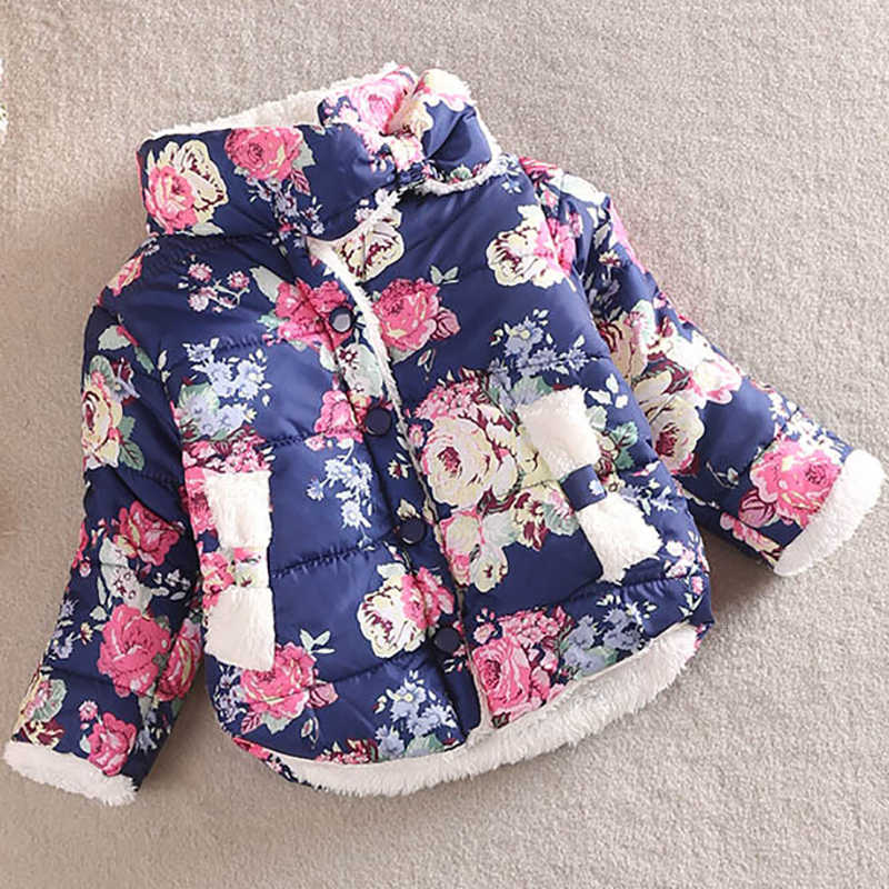 Áo Khoác Bé Gái Quần Áo Trẻ Em Mùa Đông Nữ Mới Hoa Dày Sang Trọng Cotton Phối Quần Áo Trẻ Em Trẻ Em Dễ Thương Áo Khoác
