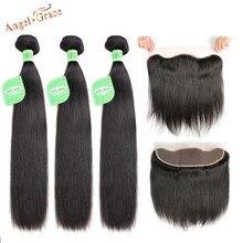 Anjo graça cabelo brasileiro em linha reta 3 pacotes com 13x4 marrom/transparente/hd rendas frontal remy cabelo com orelha a orelha frontal
