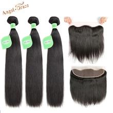 Melek Grace saç brezilyalı düz saç 3 demetleri ile 13X4 kahverengi/şeffaf/HD dantel Frontal Remy saç kulak kulak ön