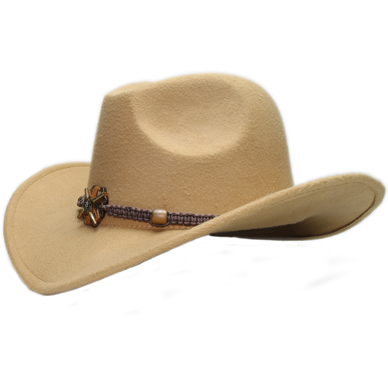 Vintage Parent-child Women Men /Kid Child Wool Wide Brim Cowboy Western Hat Cowgirl Bowler Cap Wood Knitted Bead Band (57cm/54cm