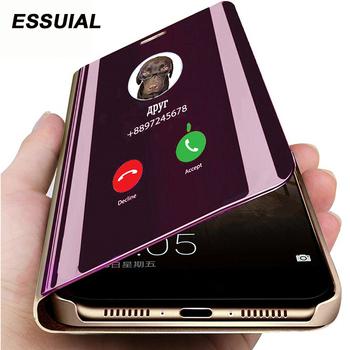 Inteligentne lustro etui z klapką do Huawei P30 P40 P20 Pro Mate 10 20 Lite Honor 20 Pro 10i 9 Lite 9C 9S 9A 9X 8A 8X P inteligentne 2019 okładka tanie i dobre opinie ESSUIAL Aneks Skrzynki Smart Mirror Phone Case For Huawei P30 Lite Zwykły Przezroczysty Odporna na brud Anti-knock Podpórka