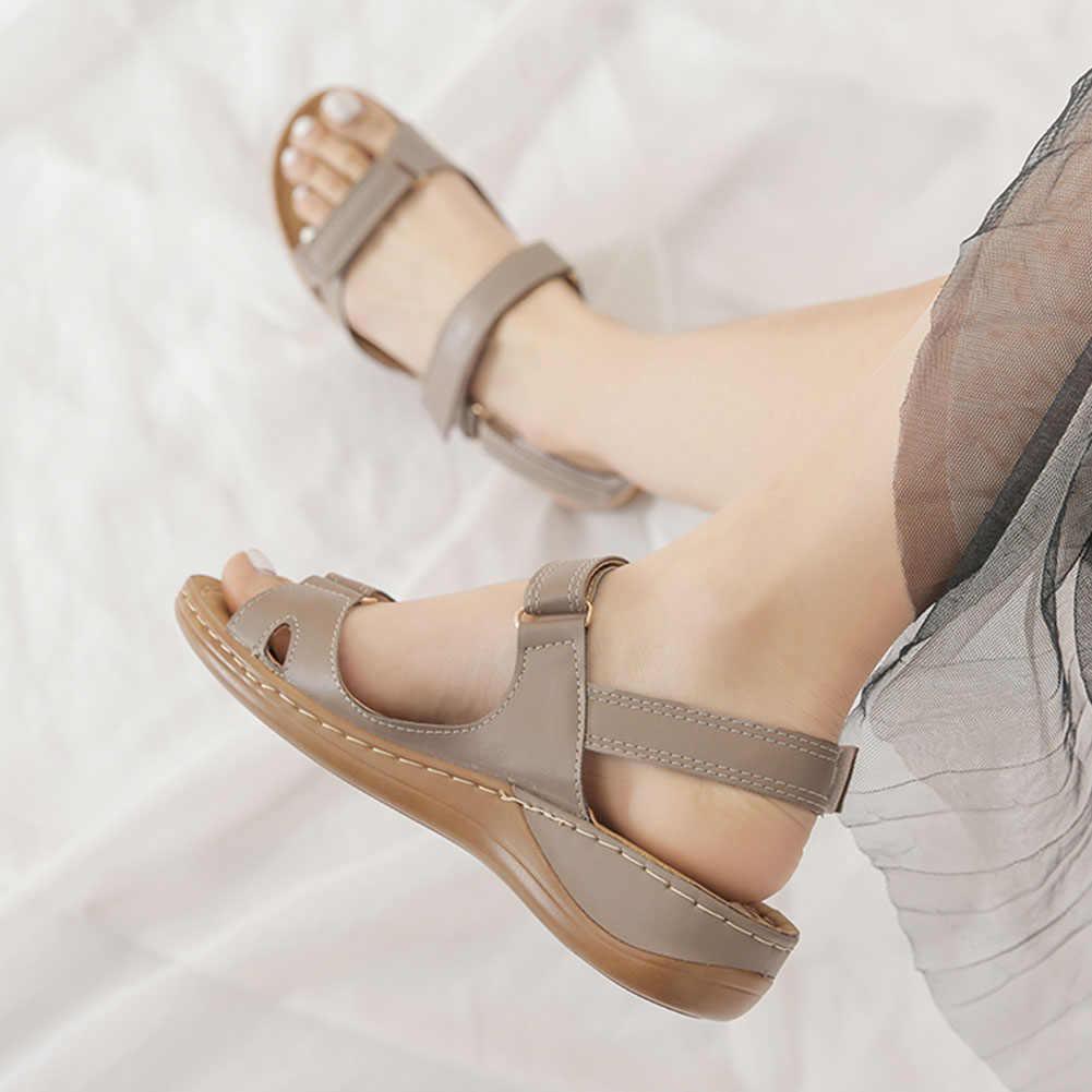 2020 gorąca sprzedaż duży rozmiar 46 z wystającym palcem letnie klapki kobieta buty Hook & loop buty na koturnie wygodne buty damskie Zapatos Mujer