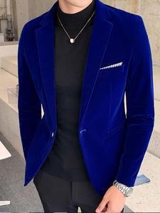 Casual Suit Costume Jacket Coat Veste Blazers Wedding-Dress Velvet DJ Business Men's